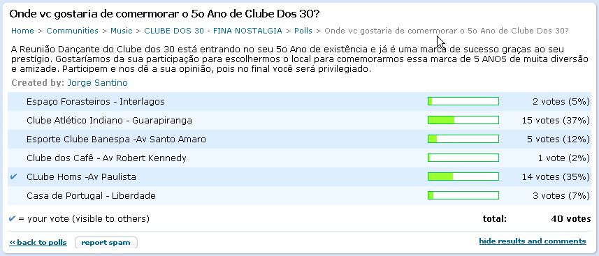 Enquete Clube dos 30