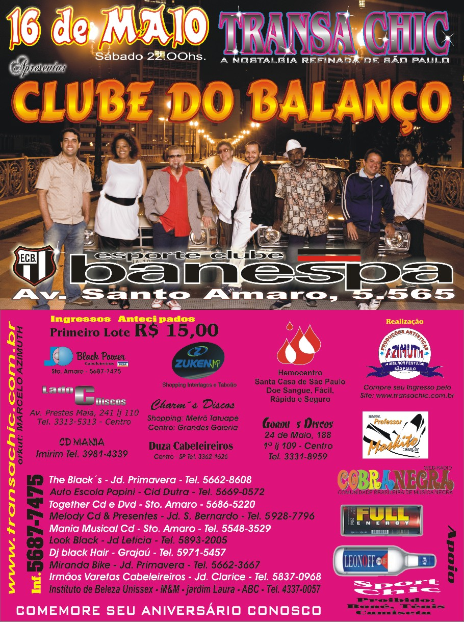 Transa Chic e Clube do Balanço dia 16 de maio