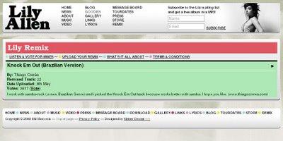 Lily Allen tem versão samba rock como mais votada em seu site