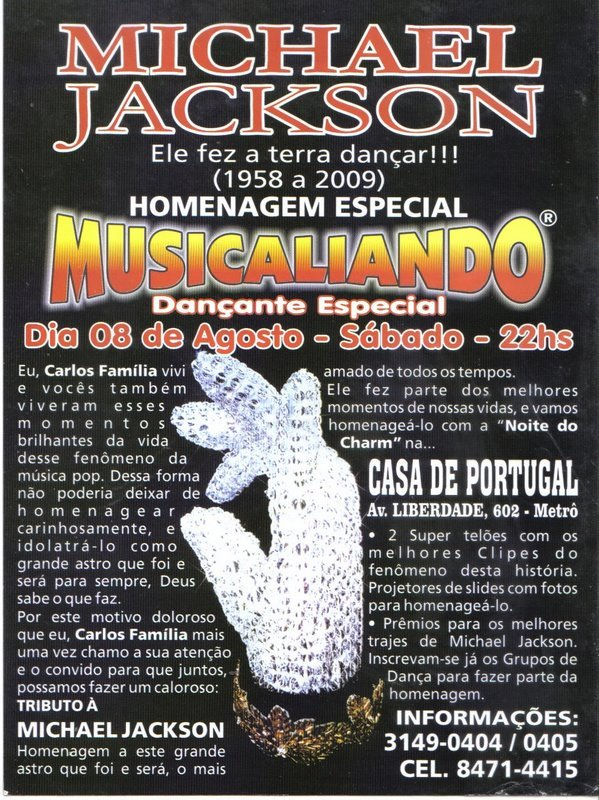 Musicaliando na Casa de Portugal – Tributo a Michael Jackson
