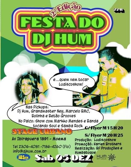 """Segunda edição da """"Festa do DJ Hum"""" tem samba rock"""