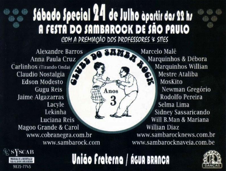 Premiação dos professores e sites de samba rock