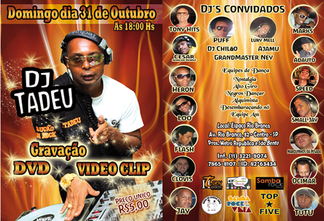 DJ Tadeu grava DVD e vídeo clip no domingo