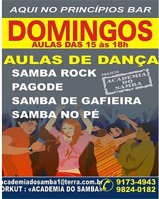 Aulas de samba rock – Domingo no Princípios Bar