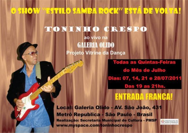 Toninho Crespo agita a Galeria Olido no mês de julho