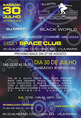 Club Emoções e Black World neste sábado