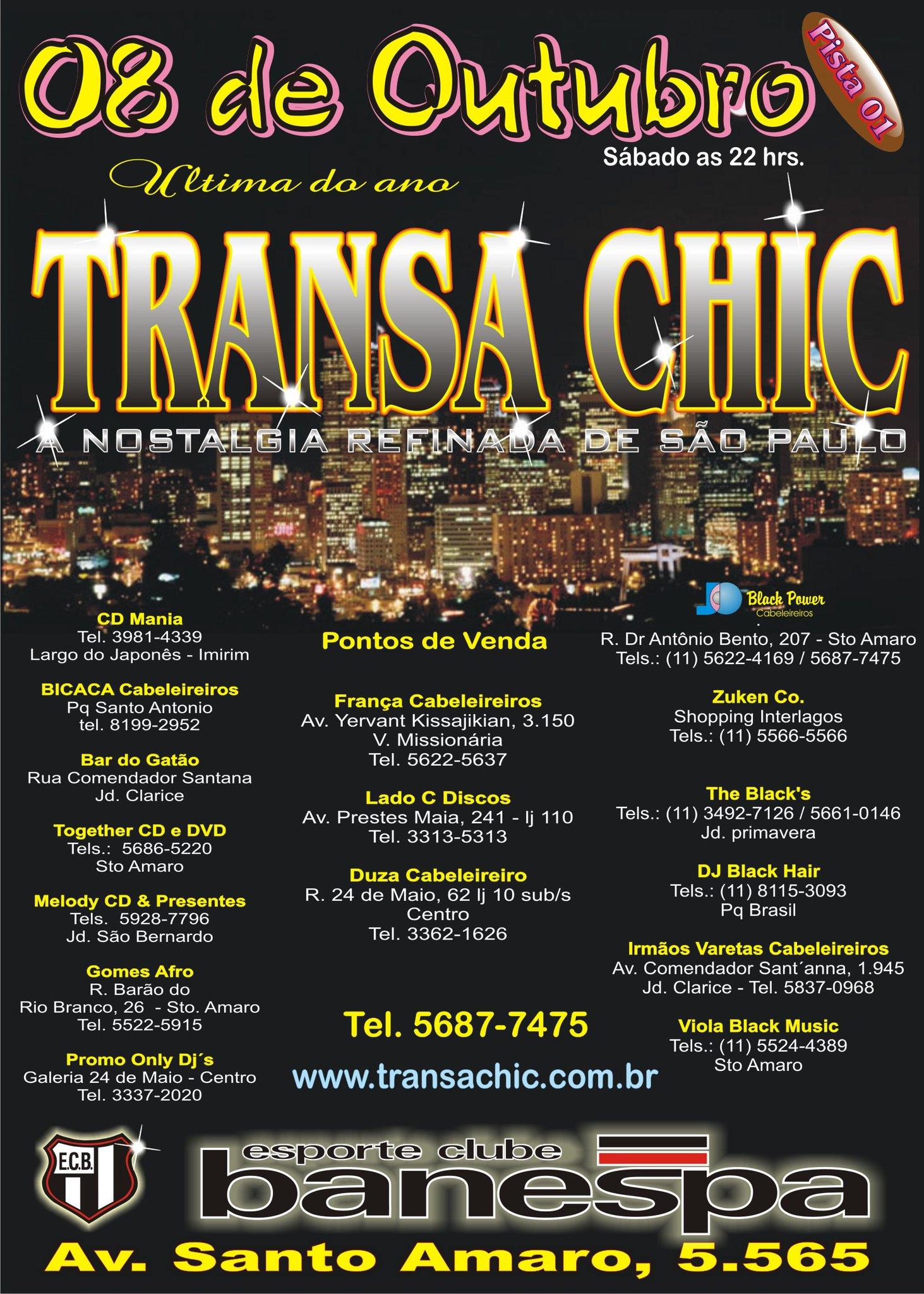 Em outubro a zona sul vai balançar ao som da Transa Chic