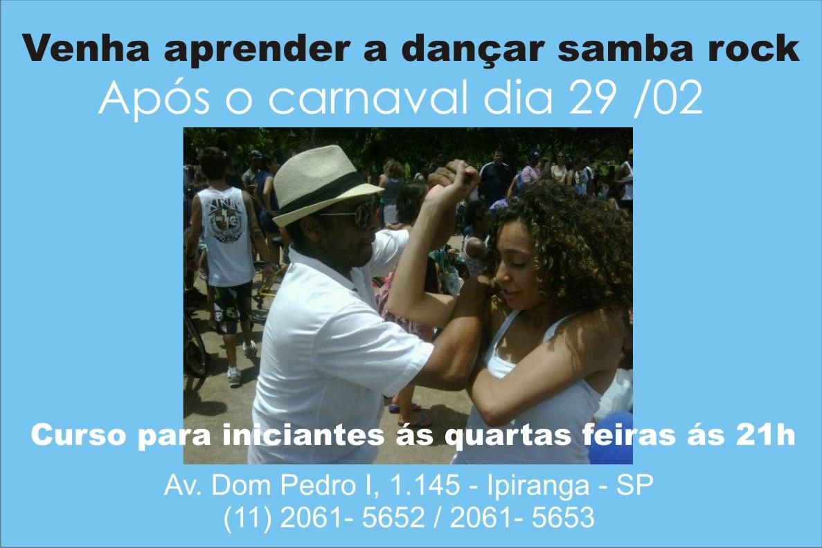 Aulas de samba rock com início para depois do carnaval