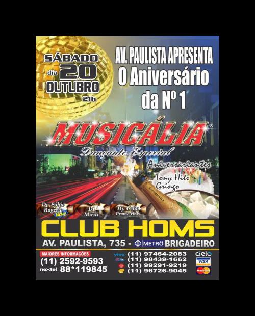 Musicália faz baile no Club Homs em outubro #nota