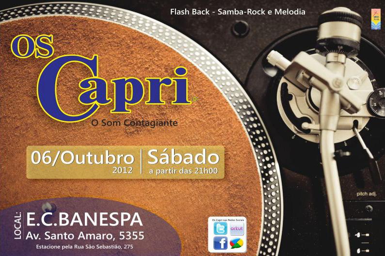 Em outubro tem baile Os Capri no E. C. Banespa #nota