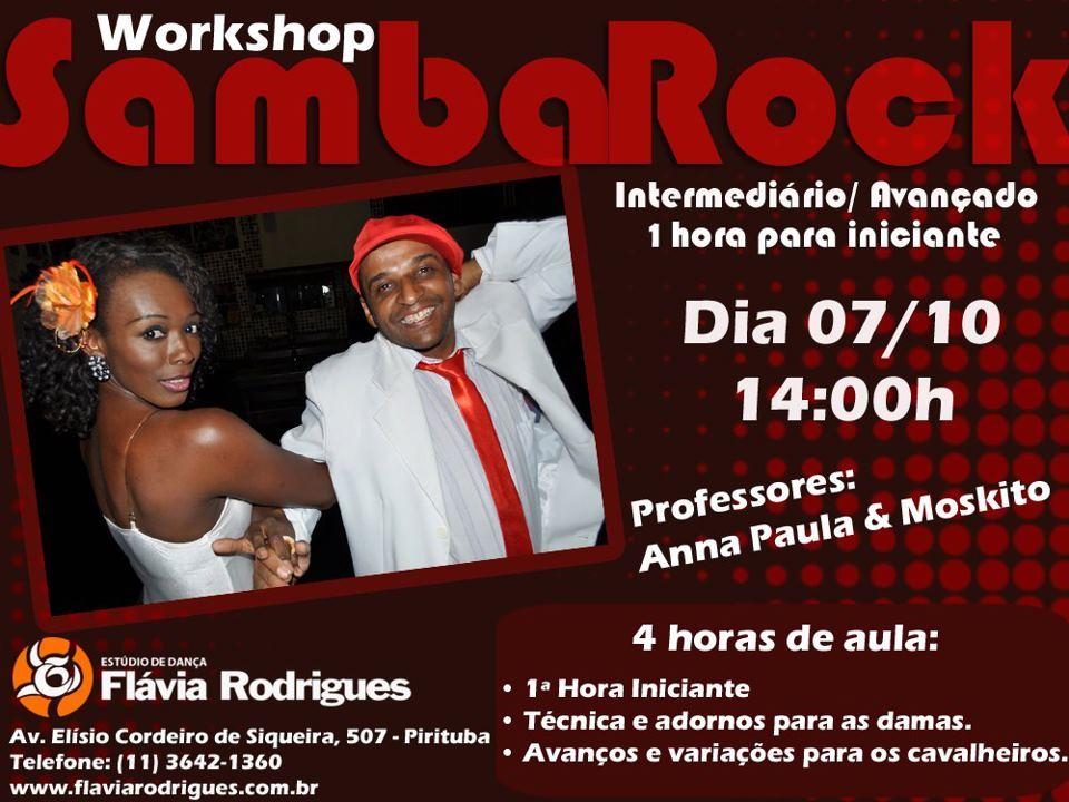 Domingo tem workshop de samba rock com Moskito e Anna Paula #nota