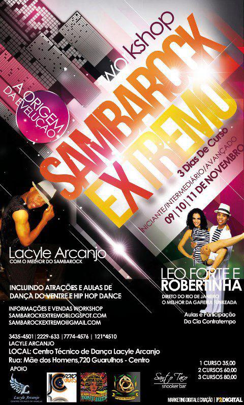 Vem aí o workshop Samba Rock Extremo com 3 dias de curso #nota