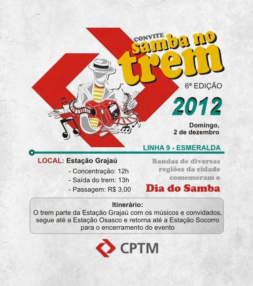 Samba no Trem em mais uma edição comemorando Dia do Samba #nota