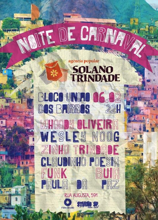 Agência Solano Trindade faz noite de carnaval no Studio SP