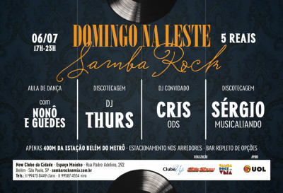 Domingo com samba rock na zona leste traz aula de dança e DJs