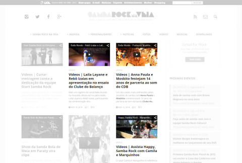 Reprodução da tela do canal de vídeos do site Samba Rock Na Veia - Em destaque os vídeos de casais