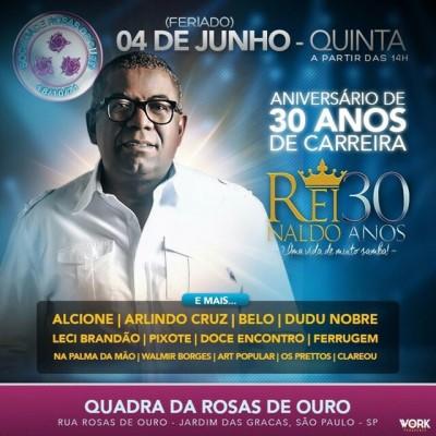 Reinaldo comemora 30 anos de carreira na Rosas de Ouro #nota