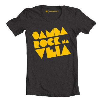Camiseta masculina Samba Rock Na Veia cinza escuro mesclado e amarela
