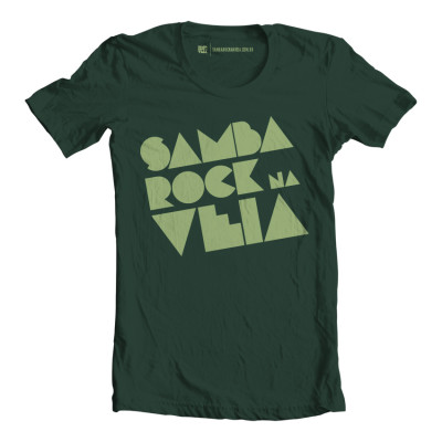 Camiseta masculina Samba Rock Na Veia verde escuro e bege amarelado