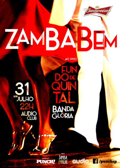 Festa Zamba Bem vem com muito samba rock e no palco Fundo de Quintal e Banda Glória