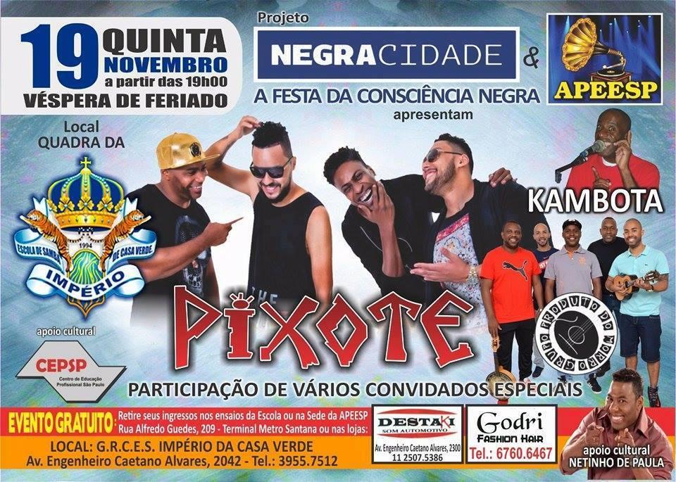 Grupo Pixote e atrações de samba rock se apresentam nesta quinta na Império de Casa Verde