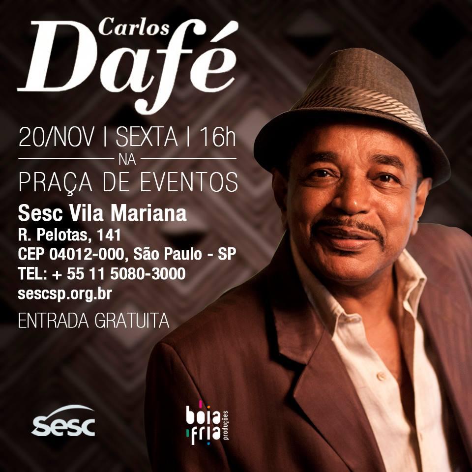 Carlos Dafé faz show de graça nesta sexta no SESC #nota