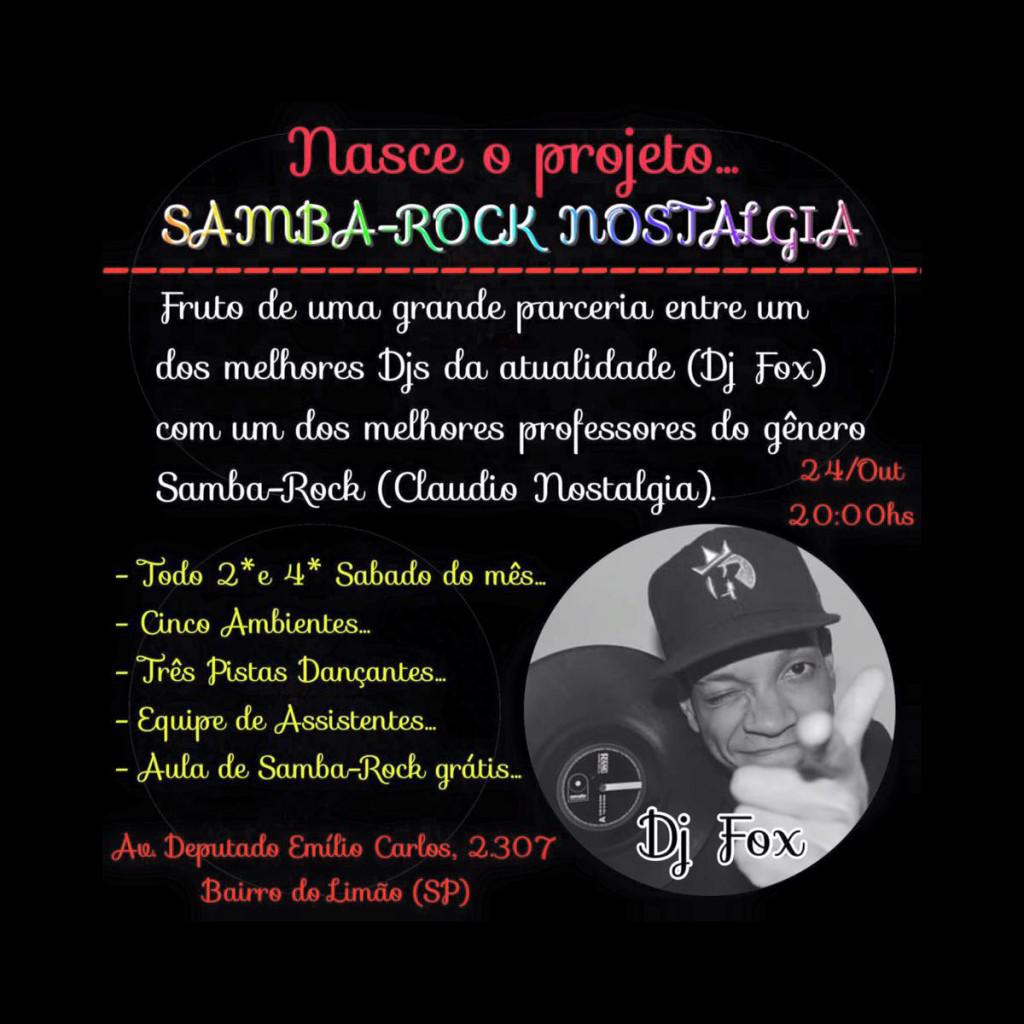 Projeto Samba Rock Nostalgia reúne Claudio Nostalgia, DJ Fox, alunos e admiradores