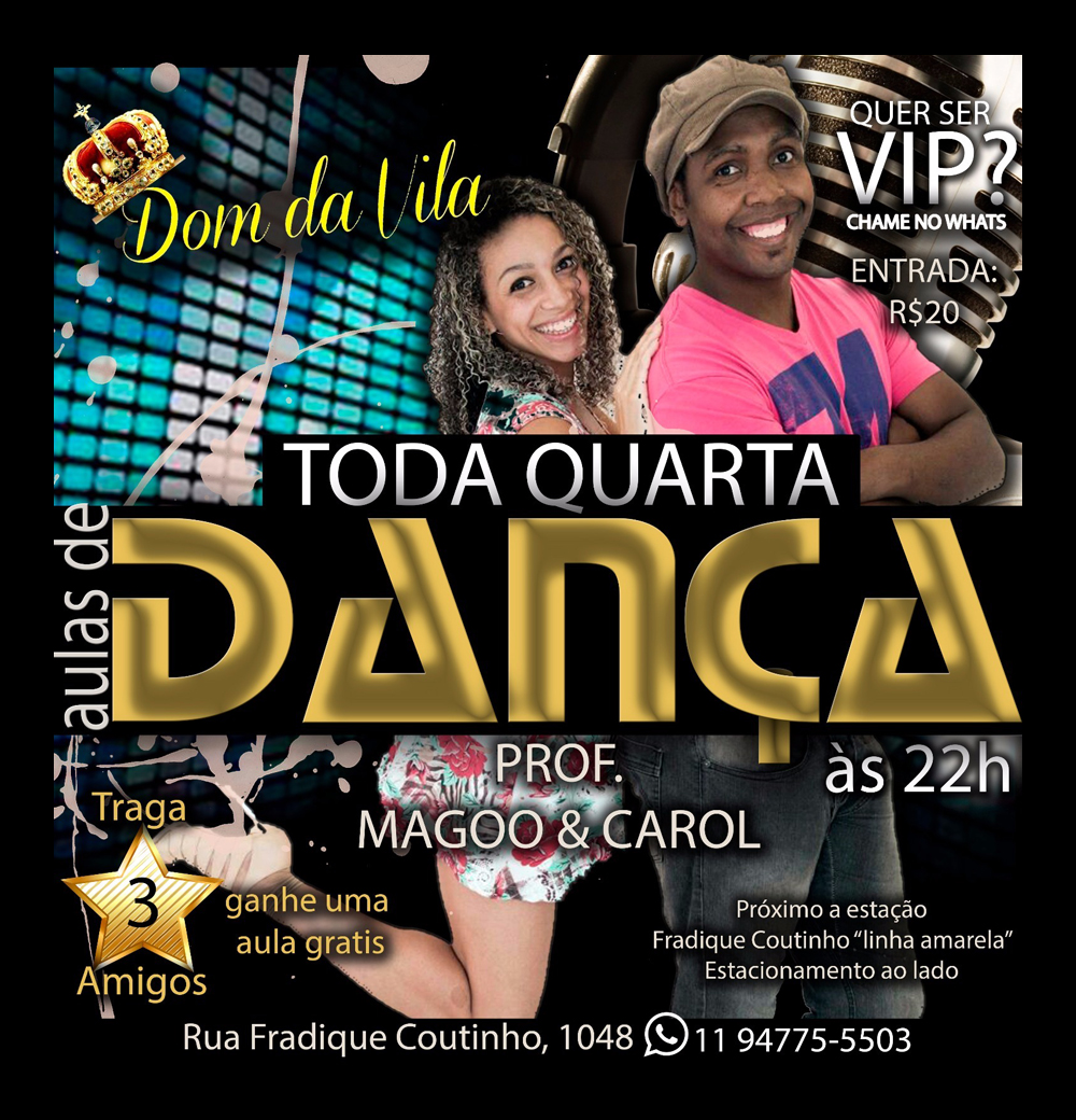 Dom da Vila tem aula de samba rock toda quarta com Carol e Magoo #nota