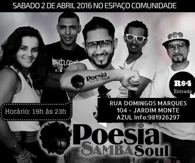 Sábado tem samba rock com Poesia Samba Soul no Espaço Comunidade #nota