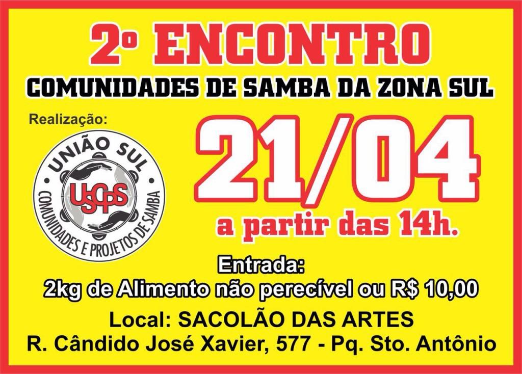 Vem aí 2º Encontro das Comunidades de Samba da Zona Sul #nota