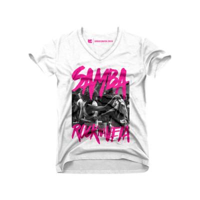 Camiseta feminina Samba Rock Na Veia branca e pink com foto