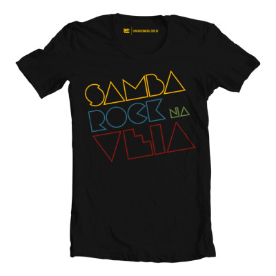 Camiseta masculina Samba Rock Na Veia preta com logo