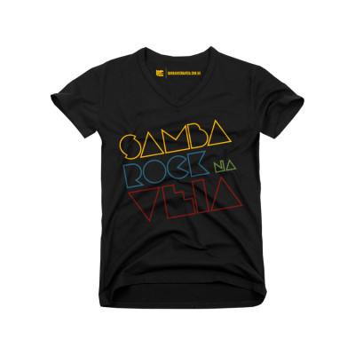 Camiseta feminina Samba Rock Na Veia preta com logo