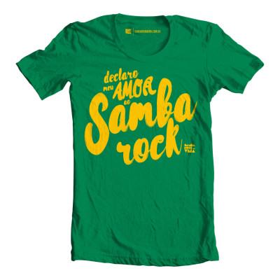 """Camiseta masculina """"Declaro meu amor"""" verde e amarela"""