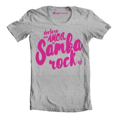 """Camiseta masculina """"Declaro meu amor"""" cinza mesclado e pink"""