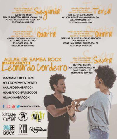 Confira a agenda de aulas de samba rock diárias do professor Leonardo Cordeiro #nota