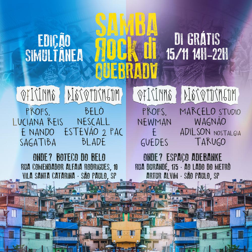 Coletivo Samba Rock Di Quebrada realiza edições simultâneas em diferentes endereços no próximo feriado #nota
