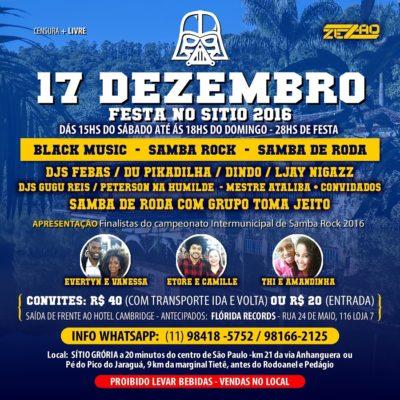 Zezão Eventos promove Festa no Sítio com black music, samba rock e samba de roda #nota