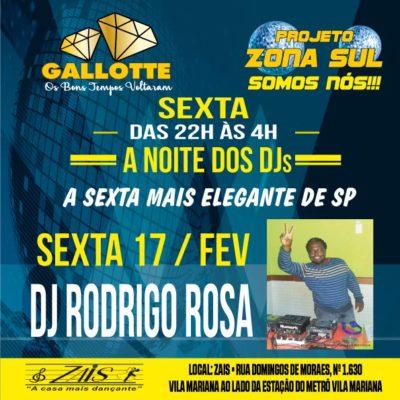 Projeto Zona Sul Somos Nós acontece nesta sexta ao som do DJ Rodrigo Rosa #nota