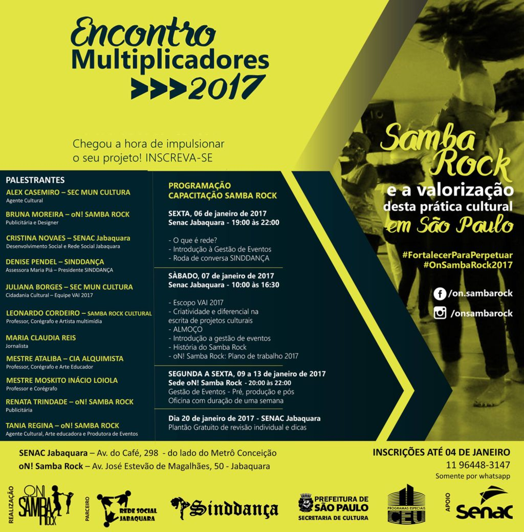 On Samba Rock promove Encontro Multiplicadores 2017 no Senac