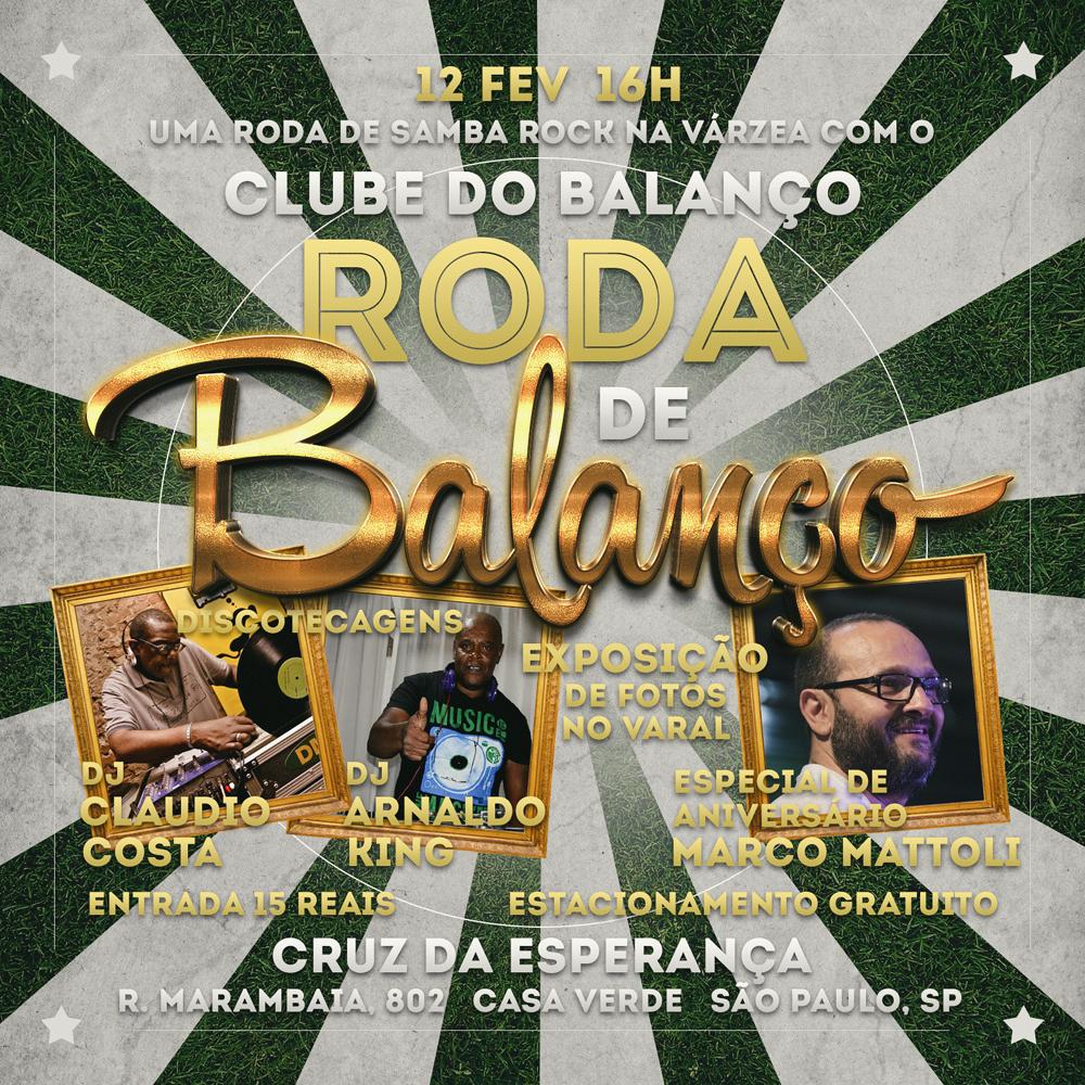 Roda de Balanço no Cruz em fevereiro com o Clube do Balanço comemora aniversário de Marco Mattoli
