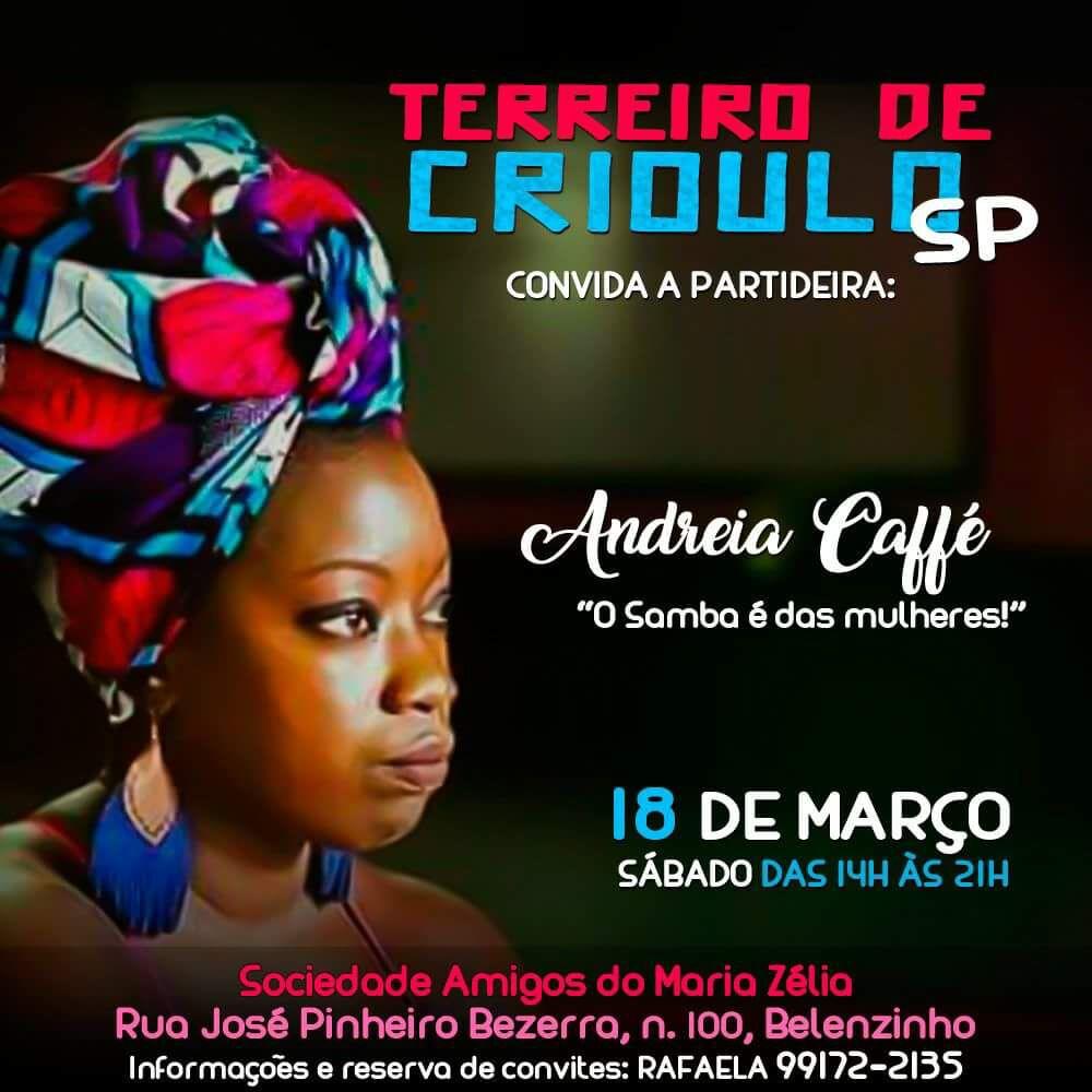 Terreiro de Crioulo convida Andreia Caffé no próximo sábado #nota