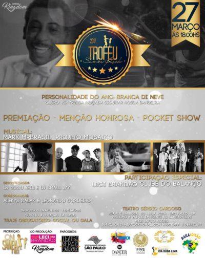 Troféu Samba Rock 2017 traz premiações, apresentações e shows com Mark MP Brasil e Mosaiko #nota
