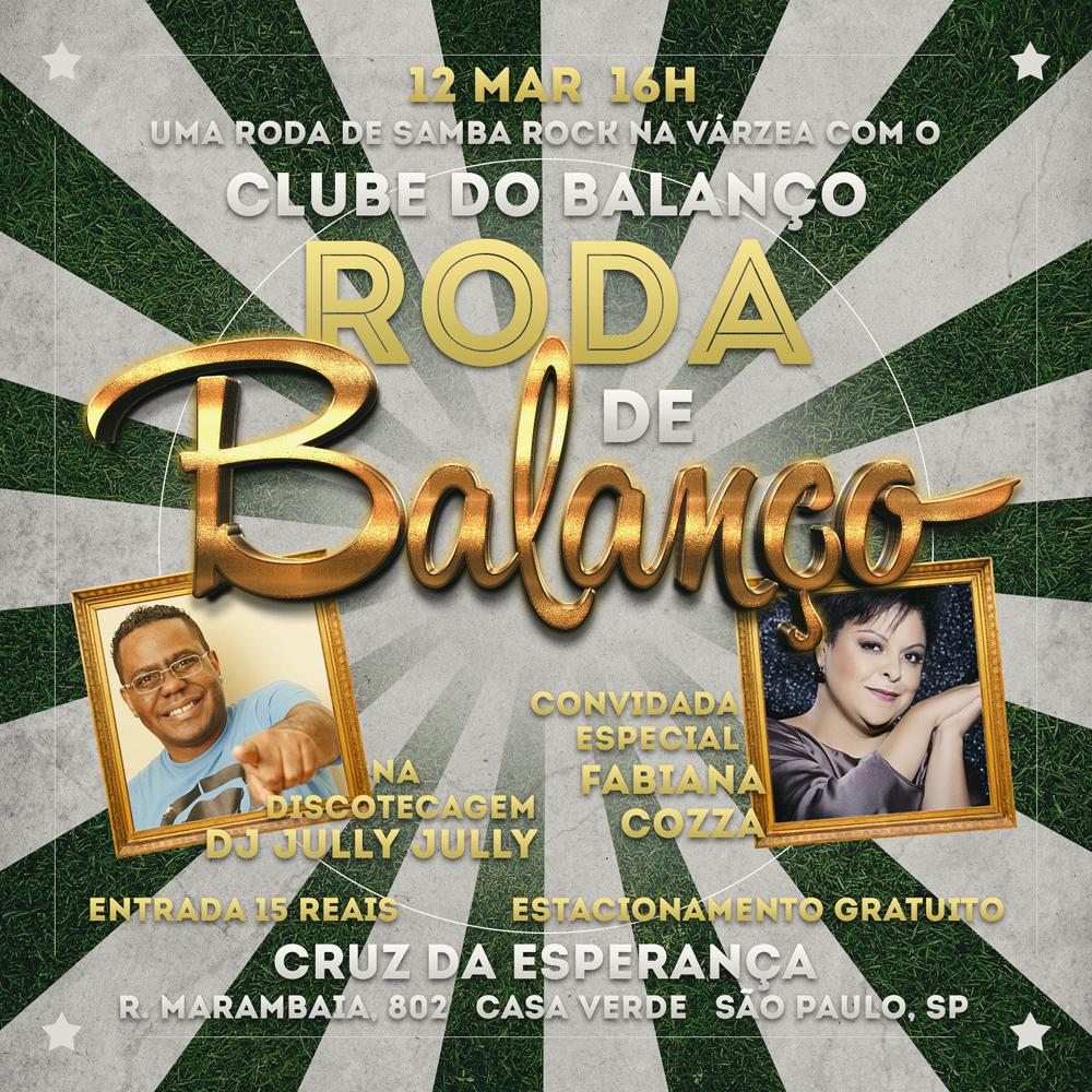 Roda de Balanço no Cruz com Clube do Balanço, Fabiana Cozza como convidada e baile ao som do DJ Jully Jully