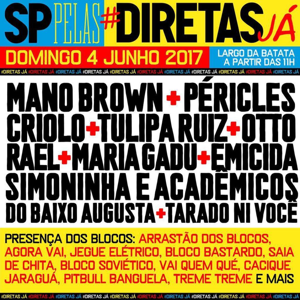 Samba rock marca presença em evento por #DiretasJá no Largo da Batata neste domingo #nota