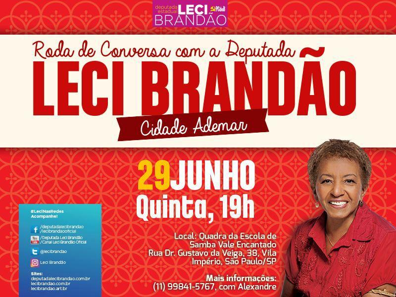 Roda de conversa com a Deputada Leci Brandão acontece nesta quinta #nota