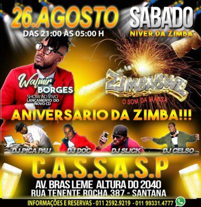 Aniversário da Zimbabwe no CASSASP vem repleto de atrações e show de Walmir Borges #nota