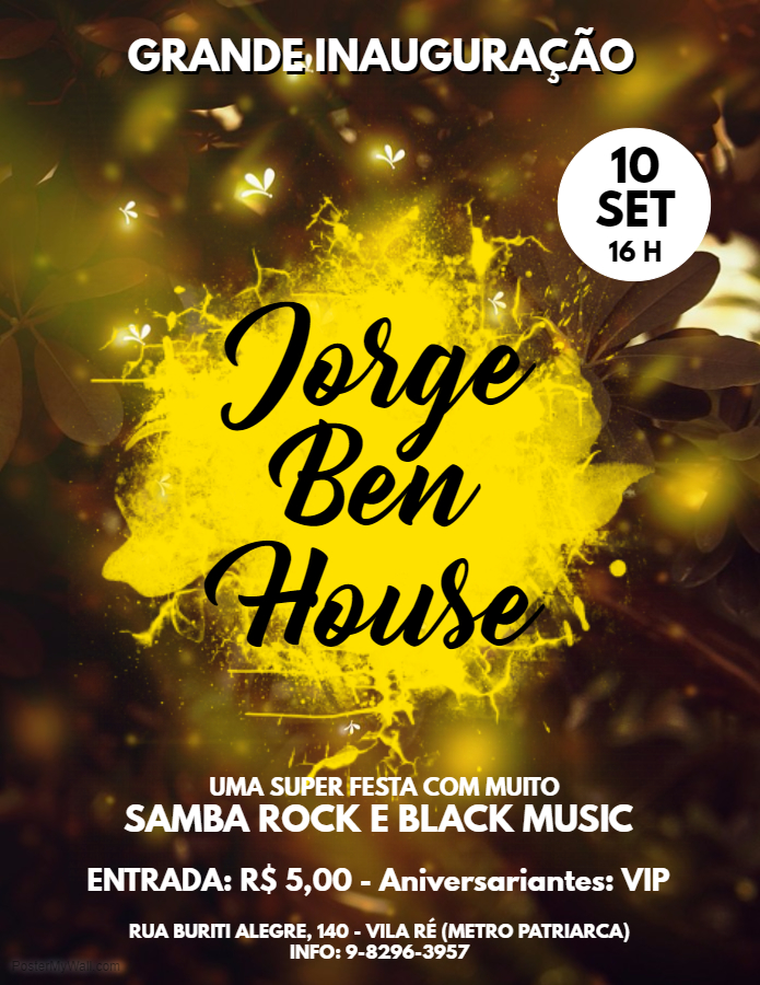 Acontece neste fim de semana a inauguração da Jorge Ben House #nota