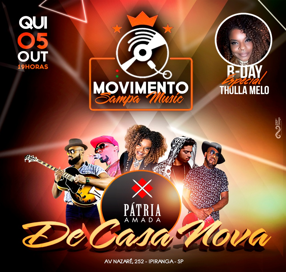 Movimento Samba Music com diversos artistas acontece no Pátria Amada; Quinta-feira #nota
