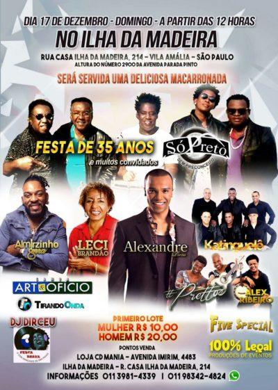 Nomes consagrados do samba e samba rock fecham o ano em grande evento no Ilha da Madeira #nota